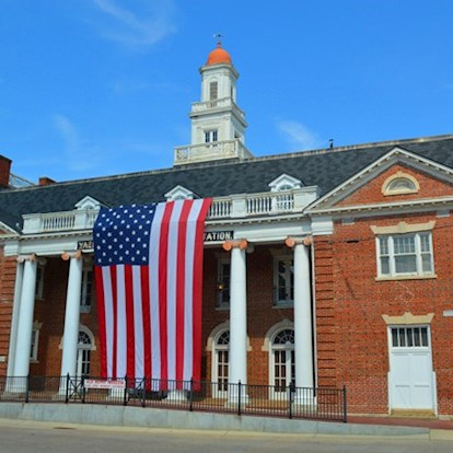 American flag draped over Old Depot Museum in Vicksburg, MS
